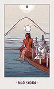 Six of Swords Tarot card in White Numen deck