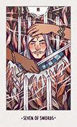 Seven of Swords Tarot card in White Numen deck