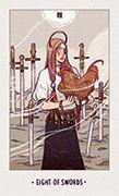 Eight of Swords Tarot card in White Numen deck
