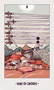 Nine of Swords Tarot card in White Numen deck