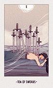 Ten of Swords Tarot card in White Numen deck