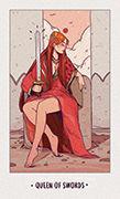 Queen of Swords Tarot card in White Numen deck