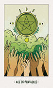 Ace of Pentacles Tarot card in White Numen deck