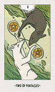 Two of Pentacles Tarot card in White Numen deck