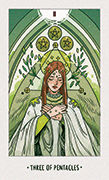 Three of Pentacles Tarot card in White Numen deck