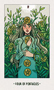Four of Pentacles Tarot card in White Numen deck