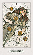 Five of Pentacles Tarot card in White Numen deck