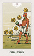 Six of Pentacles Tarot card in White Numen deck