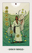 Seven of Pentacles Tarot card in White Numen deck