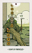 Eight of Pentacles Tarot card in White Numen deck