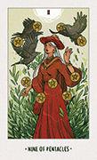 Nine of Pentacles Tarot card in White Numen deck
