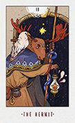 The Hermit Tarot card in White Numen deck
