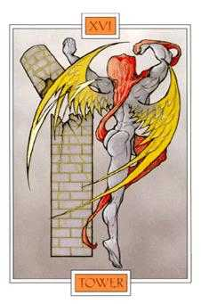 The Falling Tower Tarot Card - Winged Spirit Tarot Deck