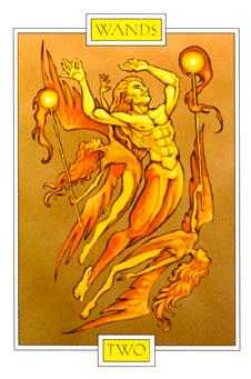 Two of Staves Tarot Card - Winged Spirit Tarot Deck