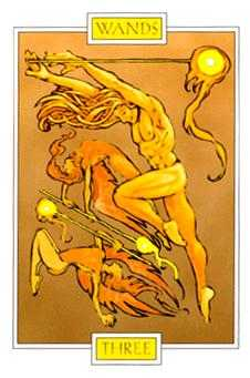 Three of Batons Tarot Card - Winged Spirit Tarot Deck
