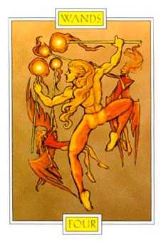 Four of Rods Tarot Card - Winged Spirit Tarot Deck