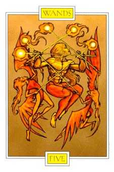 Five of Batons Tarot Card - Winged Spirit Tarot Deck