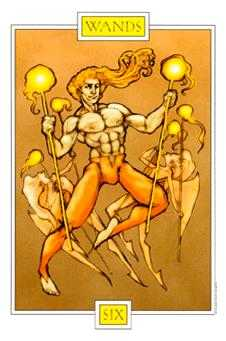 Six of Rods Tarot Card - Winged Spirit Tarot Deck
