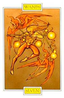 Seven of Rods Tarot Card - Winged Spirit Tarot Deck