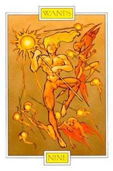 Nine of Batons Tarot Card - Winged Spirit Tarot Deck