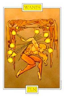 Ten of Staves Tarot Card - Winged Spirit Tarot Deck