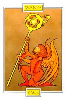 Page of Staves Tarot Card - Winged Spirit Tarot Deck