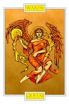 Queen of Rods Tarot Card - Winged Spirit Tarot Deck