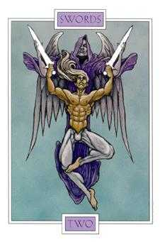 Two of Bats Tarot Card - Winged Spirit Tarot Deck