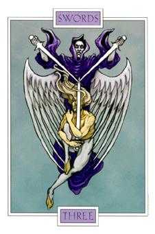 Three of Bats Tarot Card - Winged Spirit Tarot Deck