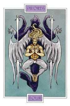 Four of Spades Tarot Card - Winged Spirit Tarot Deck