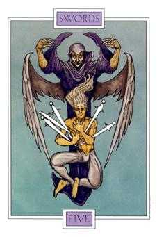 Five of Bats Tarot Card - Winged Spirit Tarot Deck