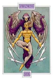 Six of Arrows Tarot Card - Winged Spirit Tarot Deck