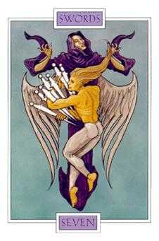Seven of Bats Tarot Card - Winged Spirit Tarot Deck