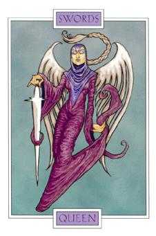 Queen of Spades Tarot Card - Winged Spirit Tarot Deck