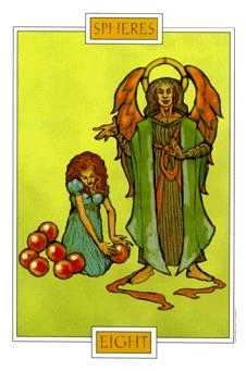 Eight of Coins Tarot Card - Winged Spirit Tarot Deck