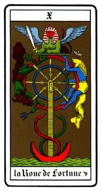 The Wheel of Fortune Tarot Card - Oswald Wirth Tarot Deck