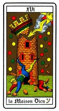 The Falling Tower Tarot Card - Oswald Wirth Tarot Deck