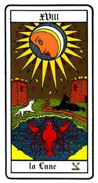 The Moon Tarot Card - Oswald Wirth Tarot Deck