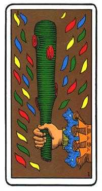 Ace of Wands Tarot Card - Oswald Wirth Tarot Deck