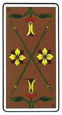 Two of Batons Tarot Card - Oswald Wirth Tarot Deck