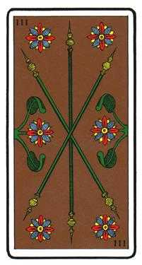 Three of Staves Tarot Card - Oswald Wirth Tarot Deck