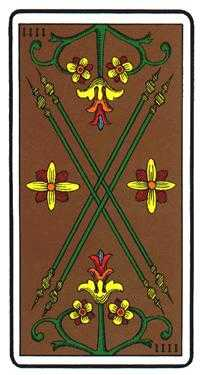 Four of Staves Tarot Card - Oswald Wirth Tarot Deck