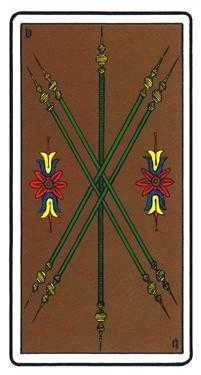 Five of Rods Tarot Card - Oswald Wirth Tarot Deck