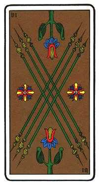 Six of Pipes Tarot Card - Oswald Wirth Tarot Deck