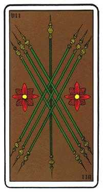 Seven of Rods Tarot Card - Oswald Wirth Tarot Deck