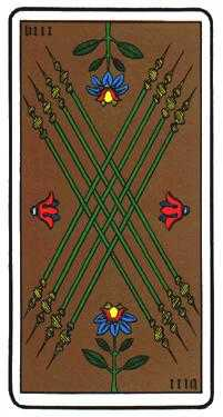 Eight of Rods Tarot Card - Oswald Wirth Tarot Deck
