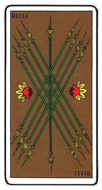 Nine of Rods Tarot Card - Oswald Wirth Tarot Deck