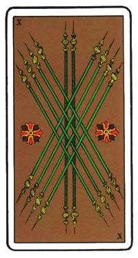 Ten of Staves Tarot Card - Oswald Wirth Tarot Deck