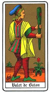 Valet of Wands Tarot Card - Oswald Wirth Tarot Deck