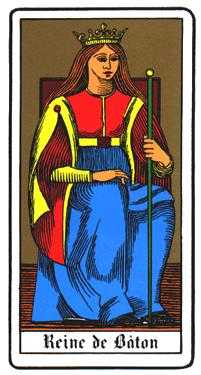 Queen of Rods Tarot Card - Oswald Wirth Tarot Deck